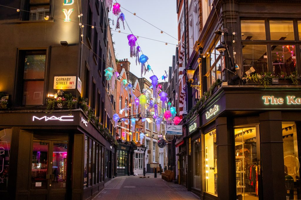 Scene of Christmas decorations at Carnaby Street.